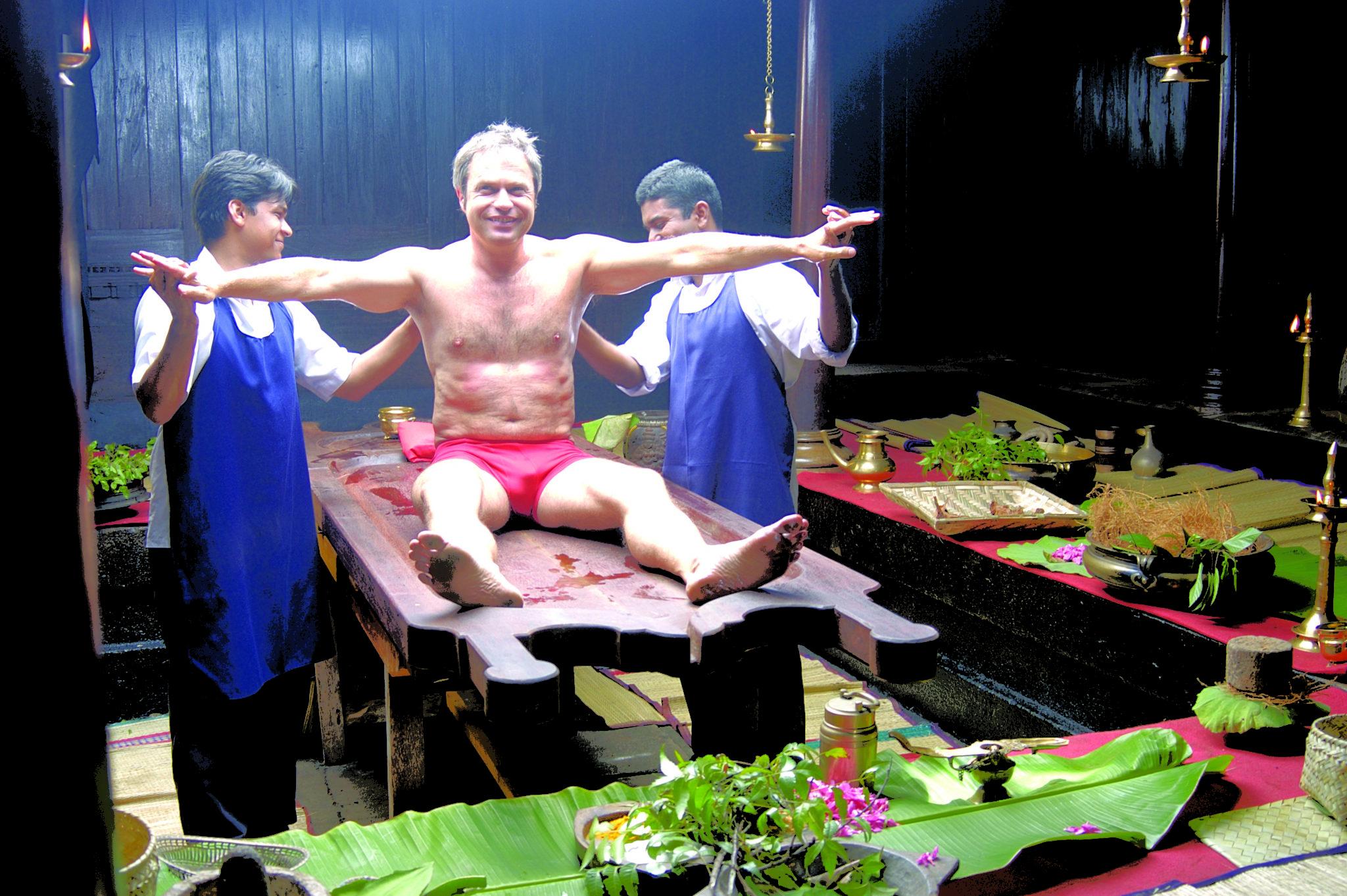 Kerala Tour Package - 2020-2021 - Man enjoying Ayurveda Massage